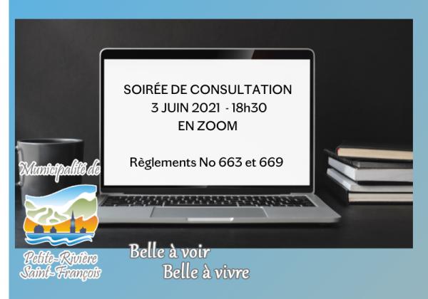 SOIRÉE DE CONSULTATION LE 3 JUIN 2021 – 18H30
